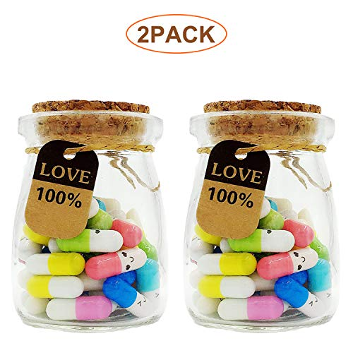 100 Pcs Capsule Letters Message in 2 Glass Bottles,Love Letter Half Color Pill for Valentine's Day,...