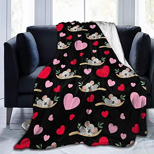 Manta de Felpa Suave Cama Bebé Koala Durmiendo Corazones Rosados Manta Gruesa y Esponjosa Microfibra, Suave, Caliente, Transpirable para Hogar Sofá , Oficina, Viaje