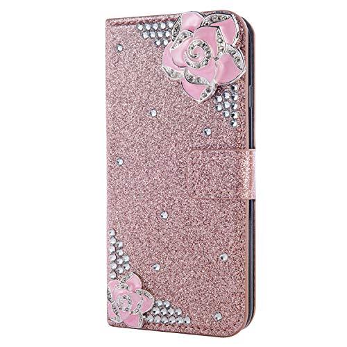 Flip Leder für Samsung S10 Plus,Stand Funktion Diamond Sparkle Billig Glitter Glitzer Musterg Soft Slim Retro Bookstyle Karteneinschub Magnet Wallet