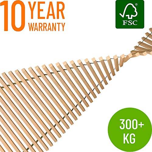Hansales Rollrost 90x200cm - 350 kg 41 Leisten - Hochwertiger Extra starker Rollattenrost aus echtem Birkenholz - FSC Lattenrost unbehandelt - Lattenrollrost Premium