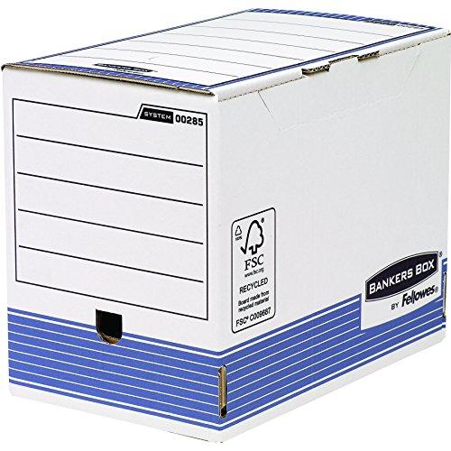Fellowes Bankers Box - Pack de 10 Cajas de Archivo Definitivo Automático, A4, 200 mm, Color Blanco y Azul