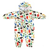 JiAmy Kids Baby One Piece Rain Suit with Hood Waterproof Coverall Outdoors 1-3 Years Yellow