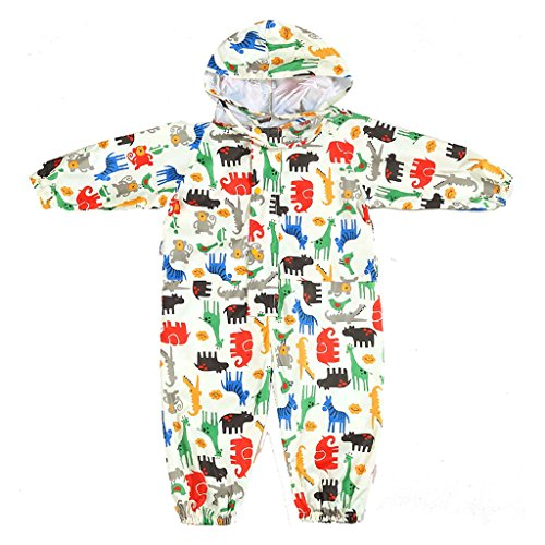 JiAmy Kids Baby One Piece Rain Suit with Hood Waterproof Coverall Outdoors 3-5 Years Yellow