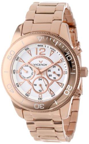 Viceroy Reloj de Mujer 47604-05 Vimar11 de Acero Inoxidable Chapado en Oro Rosa iónico con Doble Hora