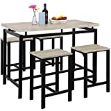 HomVent 5 Piece Dining Room Table Set, Wooden Bar Pub Table Set, Modern Counter Height Kitchen Table with 4 Backless Bar Stools for Kitchen, Breakfast Nook, Dining Room, Living Room (Beige)