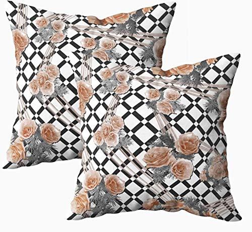 Fundas de almohada suaves, geométricas a cuadros, diseño de flores rosas, de 45,7 x 45,7 cm, fundas de almohada para decoración del hogar, fundas de almohada con cremallera para sofá