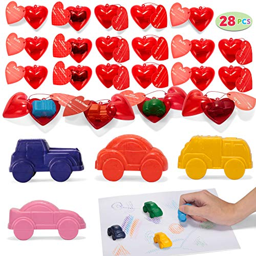 JOYIN 28 Packs Valentines Day Prefilled Hearts with Valentine Cards Filled with Car Crayons for Valentine Party Favor, Classroom Prize Supplies, Valentine's Greeting Gifts