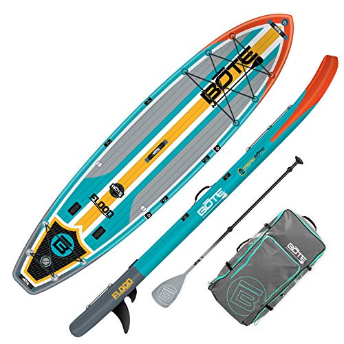 BOTE Flood Aero Inflatable Stand Up Paddle Board, SUP with Accessories | Pump, Paddle, Fin, Travel Bag | Full Trax Aqua…