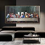 Leonardo Da Vinci - Última Cena Pinturas en lienzo Arte de la pared Carteles Impresiones Arte famoso Jesús Cuadro de pared Decoración del hogar 70x115cm (28x45in) Sin marco