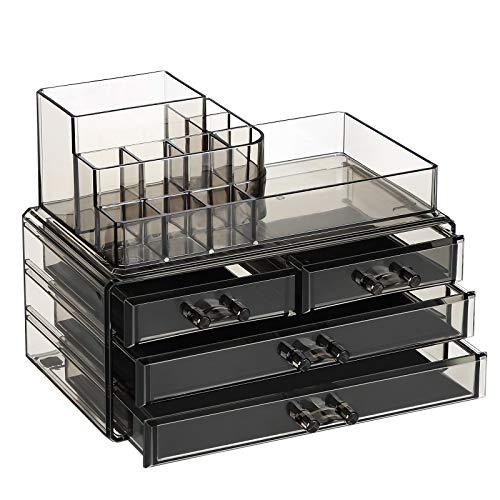 SONGMICS Make-up Organizer, Kosmetik-Organizer mit 3 Schubladen und 11 Fächern in unterschiedlichen Größen, rutschfeste Einlagen, für Schminke und Schmuck, transparent, rauchgrau JKA001GY