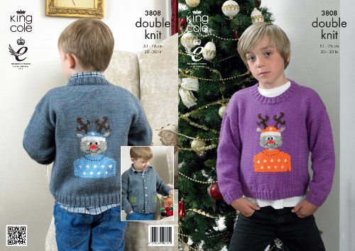 King Cole DK Knitting Pattern – 3808 Christmas Jacket and Sweater