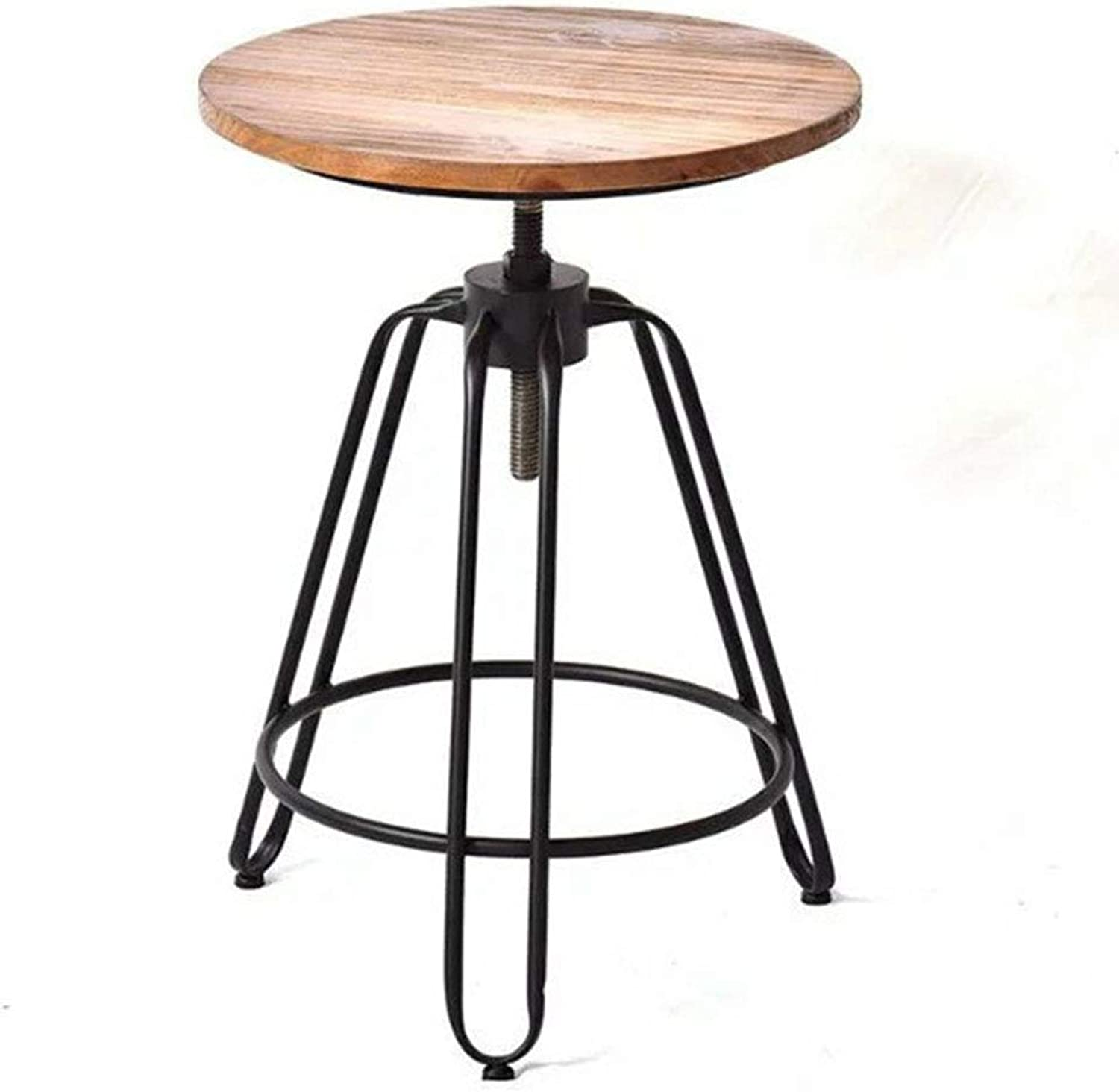 XIAOYAN End Table Vintage Solid Wood Coffee Table Antique Wrought Iron Classical Coffee Table Height Adjustable Small Round Table 2 Sizes Multifunction (Size   45  45  50-75cm)