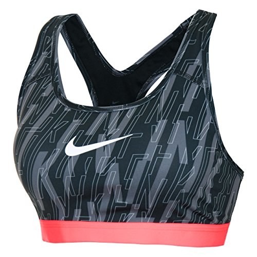 Nike Women's Full Cup Padded Non Wired Bra (832089-010_Black/Lava Glow/White_Small)