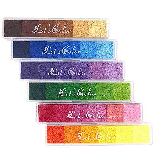 OeyeO - 36 sellos de tinta para manualidades de colores, almohadilla de tinta de dedo arcoíris degradado para sellos, papel, tela de madera, para todas las edades