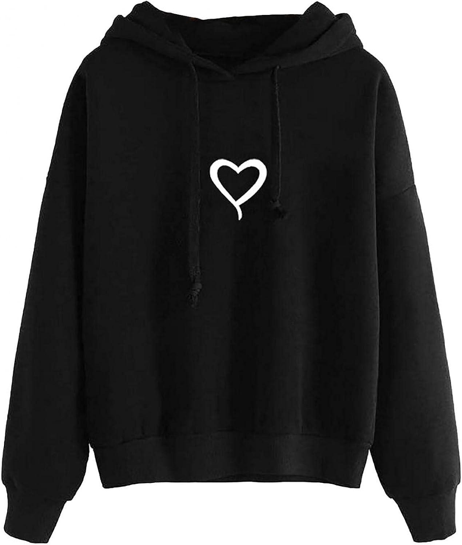 Toeava Hoodies for Women, Women's Heart Printed Long Sleeve Hooded Sweatshirts Thermal Blouse Drawstring Pullover Tops