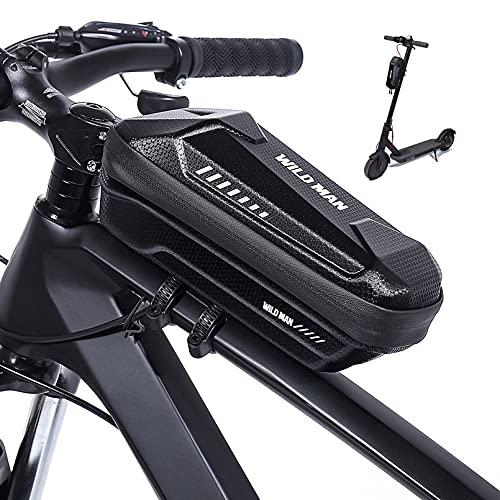 Bolsa Manillar de Bicicleta y Bolsa de Scooter 2 en 1, Bolsa Patinete Electrico Impermeable y Anti Choque, Bolsa Cuadro Bicicleta de Teléfono de EVA rígido y Gran Capacidad