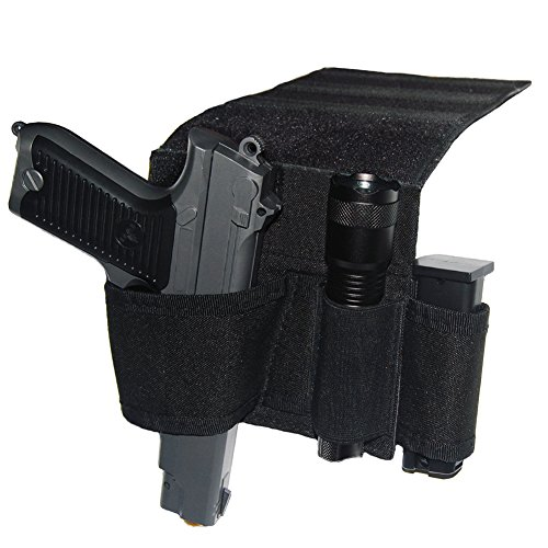 Tactical Bed Pistol Holster, Bedside Handgun Holster, Mattress Gun Holster Universal with Flashlight Loop