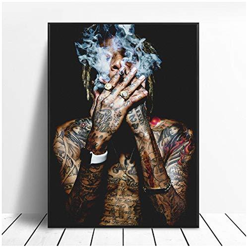A&D Wiz Khalifa Rap Musik Hip-Hop Kunst Stoff Poster Drucken Wandbilder Für Wohnzimmer Dekor leinwand malerei Poster und drucke-60x80 cm Kein Rahmen