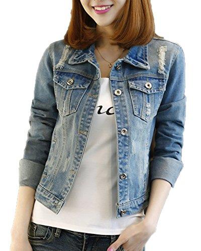 Preisvergleich Produktbild Classic Pink Damen Jeansjacke Übergangsjacke Leichte Jacke Denim Casual Boyfriend Sakko Mit Knöpfen Jacken Einfarbig Blau 2XL