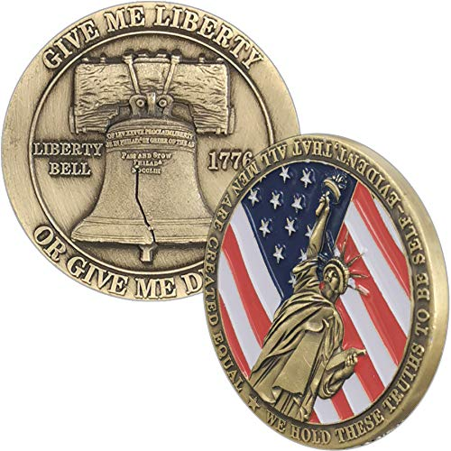 Strugglejewelry Give Me Liberty Challenge Coin U.S. Liberty Bell Military Coin
