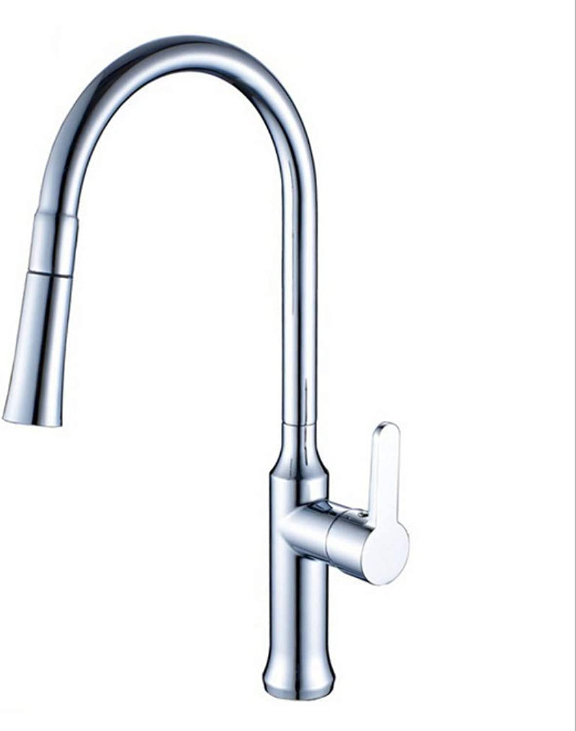 Electroplated hot and Cold Faucet, pullable, redatable Kitchen Sink, Sink Faucet