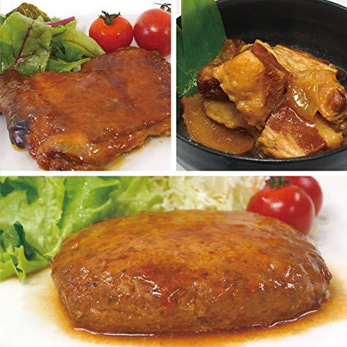 uchipac レトルトおかず いざという時あったら便利な常温お肉惣菜セット(豚の角煮・照り焼きチキン・煮込みハンバーグ) 保存料無添加・常温保存 賞味期限 1年 3種類×2個 6パックセット