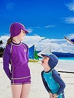 Ultrakidz - Cuffia da Piscina, per Bambini, con Visiera e Protezione per Collo, prtezione UV (50+), Rosa (Rosa), Taglia Unica #6