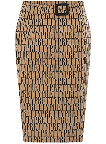 oodji Collection Mujer Falda-Lápiz Estampada, Beige, ES 46 / XXL
