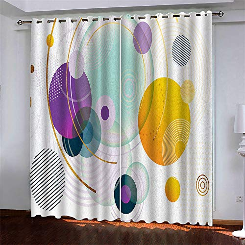 YUNSW Simple Art 3D Digital Printing Polyester Fiber Curtains, Garden Living Room Kitchen Bedroom Blackout Curtains, Perforated Curtains 2 Piece Set