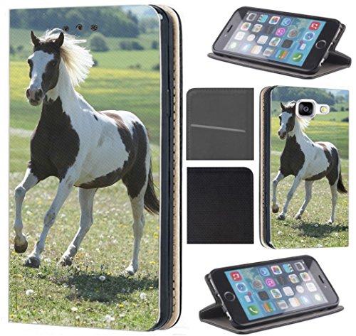 Hülle für Samsung Galaxy S8 Schutzhülle Flipcover Handyhülle Handycover Coverfix4 Handy Case 1283 Pferd auf Wiese Braun Weiß Hülle für Samsung Galaxy S8