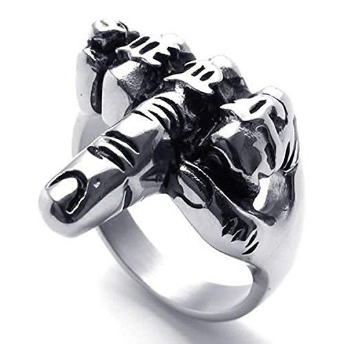 TOOGOO(R) Anillo retro de dedo medio de hombres Anillo de joyeria de hombre motorista, de acero inoxidable, de dedo medio de estilo retro, negro + plata(12)