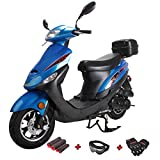 X-Pro 50cc Moped Scooter Gas Moped Scooter 50cc Moped Street Scooter Aluminum Wheels,Blue