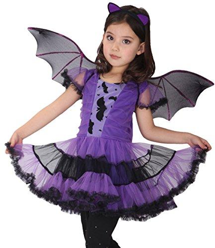 EOZY-Costume per Travestimento da pipistrello Viola Costume cosplay di Halloween Carnevale Costume da Bat con copricapo Ali per Bambine Ragazzi 3-12 anni (Altezza 120-130 CM)