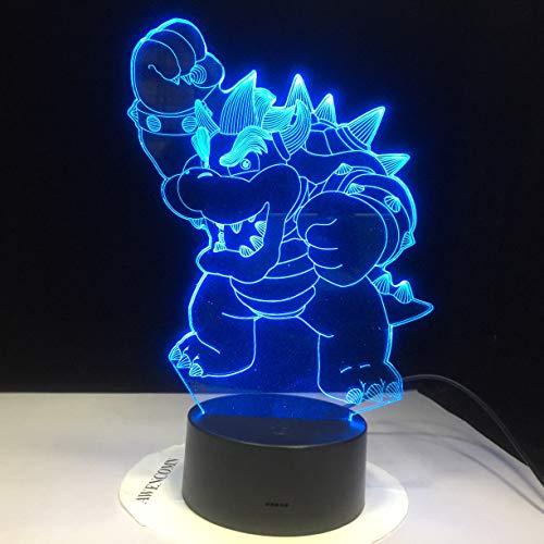 Jiushixw 3D acryl nachtlampje met afstandsbediening kleurverandering lamp schattige cartoon draak Magic Animal bureau kind verjaardagscadeau werkbank driebedkamer tafellamp