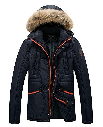 Icegrey Doudoune Homme Manches Longues Manteau à Capuche Amovible avec Bord en Fausse Fourrurre Amovible pour l'hiver Motos Parka Bleu Profond FR 44