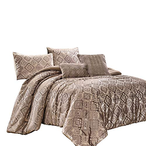 Chezmoi Collection Damon 5-Piece Comforter Set Queen Size - Metallic Glitter Champagne Gold Velvet Bedding Set with Embroidered Cushion Pillows