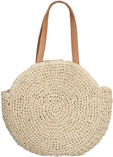 styleBREAKER ronde rieten schoudertas, strandtas met lange hengsels, rieten tas, tas geweven, shopper, dames 02012232, Farbe:Beige