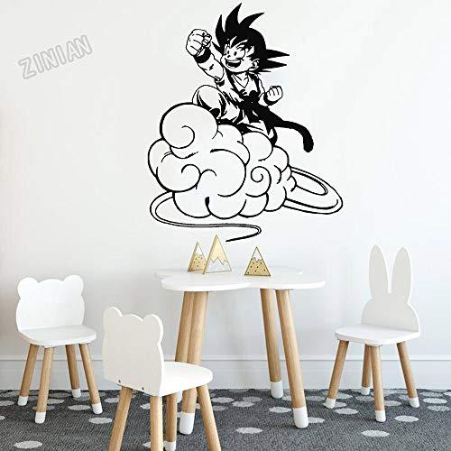 Etiqueta engomada de la pared del vinilo Anime Cartoon Manga Dragon Ball Saiyan Goku Wukong Flying Somersault Cloud Car Decal Boy Fans Dormitorio Sala de estar Club Decoración para el hogar Mural