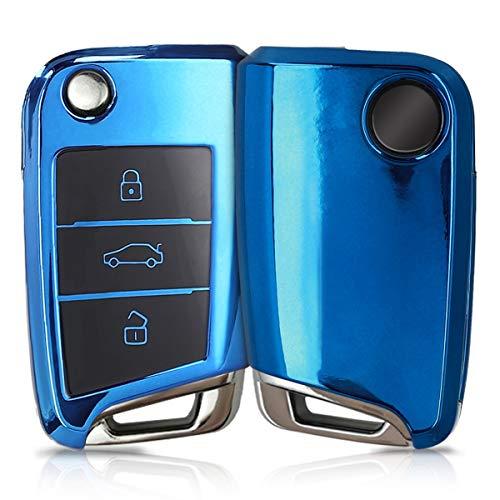 kwmobile Autoschlüssel Hülle kompatibel mit VW Golf 7 MK7 3-Tasten Autoschlüssel - TPU Schutzhülle Schlüsselhülle Cover in Hochglanz Blau