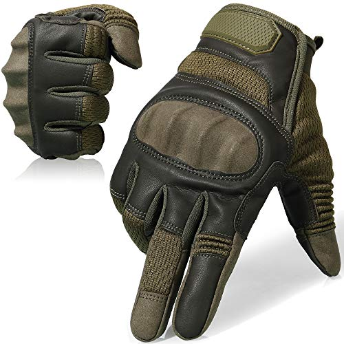 AXBXCX Touch Screen Full Finger Gloves for Motorcycles Cycling Motorbike ATV Bike Camping Climbing Hiking Work Outdoor Sports Men Women Green S