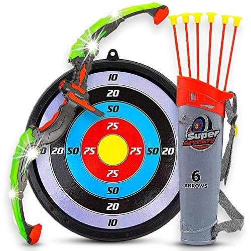 Toytykes Kids Bow and Arrow with Led Flash Lights - Archery Set Including 6 Durable Suction Cup Arrows, Target, and Quiver - Perfect Outdoor Bow and Arrow Toy for Boys and Girls