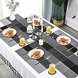 Place Mat Set with 6 Place Mats + 6 Coasters + 1 x Long Place Mats Non-Slip Heat Resistant Washable (Schwarz Grau) - 7