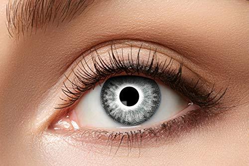 Zoelibat Natürlich Farbige Kontaktlinsen für 12 Monate, Ton90, 2 Stück, BC 8.6 mm / DIA 14.5 mm, Jahreslinsen in Markequalität, weiß/grau