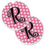 Caroline tesoros de la letra R Monogram–rosa y negro lunares set de 2cup Holder coche posavasos cj1001-rcarc, 2,56, multicolor