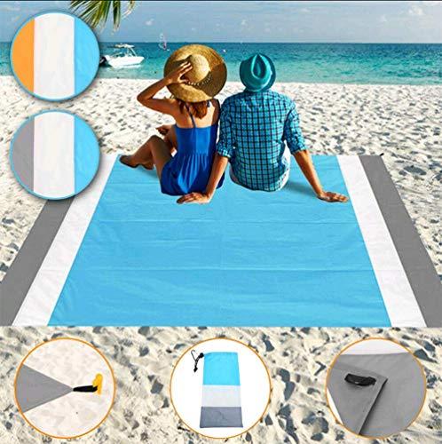 Boomersun Picknickdecke, Stranddecke, 200 x 210 cm wasserdichte Picknickdecke Campingdecke Strandtuch mit Tasche und 4 Pfähle, für Picknicks,Camping,Strand,Wandern und Ausflüge (Grau)