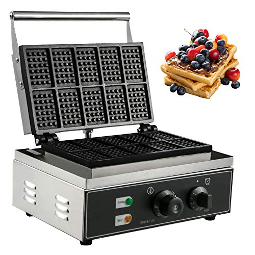 VBENLEM Commercial Rectangle Waffle Maker 10pcs Nonstick Electric Waffle Maker Machine Stainless Steel 110V Temperature and Time Control Heart Belgian Waffle Maker Suitable for Restaurant Snack Bar