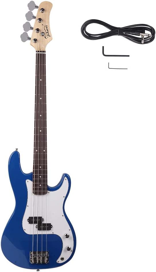 New 『1年保証』 全品送料無料 Glarry GP Electric Bass Guitar Blue Wrench Red Hot Tool Cord