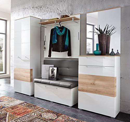 Froschkönig24 Reno 2 Garderoben Set Komplettset Flur Komplettgarderobe Weiß/Buche