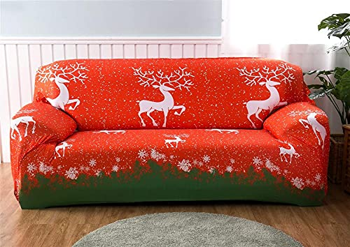 Soffskydd 1 2 3 4-sits mönster tryck röd grön jul älg slip överdrag soffa stretch elastisk polyester spandex möbelskydd skydd 3-sits: 190-230 cm