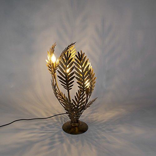 QAZQA - Retro Vintage Tischleuchte | Tischlampe | Lampe | Leuchte groß Gold | Messing- Botanica | Wohnzimmer | Schlafzimmer - Metall Andere - LED geeignet E14
